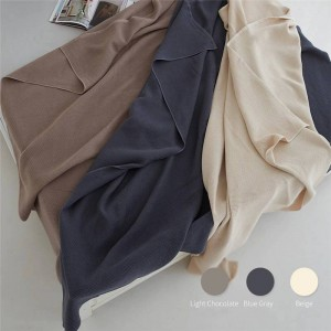 Honeycomb Air Layer Toalla Manta Doble Sofá Playa Manta Sólida Manta Cobertor de lujo Mantas dobles para camas 3 colores