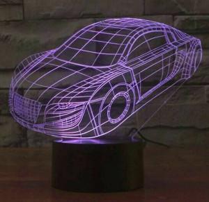 Venta caliente Colorido coche 3D Lámpara led, interruptor táctil usb Iluminación nocturna para niños Lámpara de dormitorio Grabado acrílico 3D luz nocturna visual