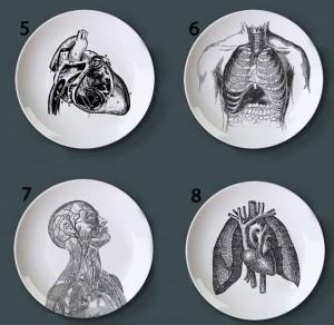 Estructura del cuerpo humano Plato decorativo Plato de cerámica artístico Plato de pintura en blanco y negro para decoración del hogar Plato de estudio
