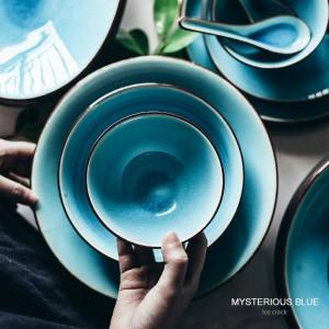 Juego de vajilla de esmalte roto en hielo plato para el hogar plato de arroz de cerámica plato plato de sopa cuchara plato de estilo japonés horno de microondas seguro