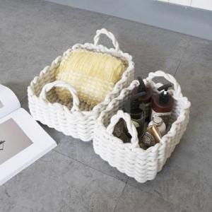 Ins Cesta de almacenamiento para el hogar de estilo nórdico Cesta de clasificación de desechos de cuerda de algodón Cesta de mano suave para el hogar Cesta de tiro