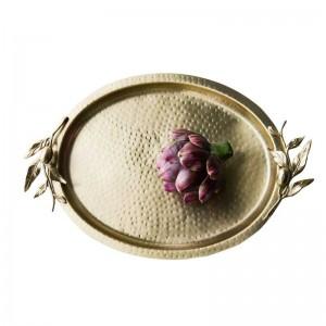 Bandeja de postres de latón hecha a mano de gran calidad para la fiesta de bodas nobiliary de gran tamaño para martillo ovalado para eventos nupciales y decoración para el hogar