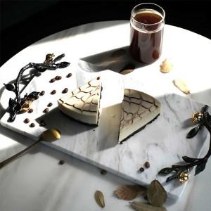 InsFashion bandeja de servicio de mármol blanco y negro de alta gama con un hermoso asa dorada para una decoración de hotel de cinco estrellas