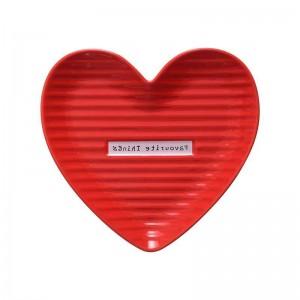 El plato de cerámica en forma de corazón rojo y rosado encantador de InsFashion para los conjuntos del regalo del día de madre