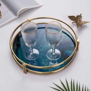 Bandeja de servir de lujo y vidrio caliente de InsFashion con patrón de ágata con impresión 3D y marco dorado para decoración del hogar de estilo nórdico