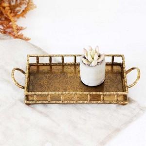 InsFashion bandeja rectangular para servir de latón hecha a mano con asas y patrón para la decoración del hogar de estilo árabe