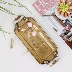 InsFashion bonita bandeja de almacenamiento hecha a mano de latón para joyas y bolígrafos con asas para la decoración del hogar de estilo moderno de América