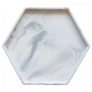 InsFashion estilo simple gris blanco hexagonal mármol patrón bandeja de cerámica para decoración del hogar de estilo danés