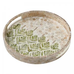 Bandeja de servicio de concha verde súper elegante de InsFashion para decoración del hogar de estilo nórdico o eventos de bodas