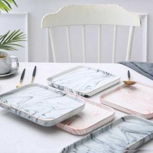 Bandeja de comida de cerámica cuadrada y rectangular súper elegante de InsFashion para la decoración del hogar de estilo ruso elegante
