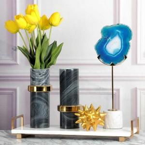 Bandeja de servicio de mármol súper superior InsFashion con mango de latón para decoración moderna del hogar europeo y bandeja de almacenamiento