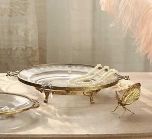 InsFashion espléndida bandeja redonda de joyería de vidrio transparente con borde dorado y patas para la decoración del hogar vintage estilo corte real
