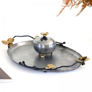 InsFashion vintage hace una vieja bandeja ovalada de cobre para la decoración del restaurante de estilo real árabe