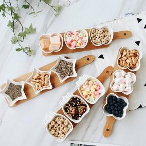 Bandejas de servir de plato de frutas de estilo japonés Placas de plato de cerámica creativas para bocadillos / nueces / postres Bandeja de bambú ecológico