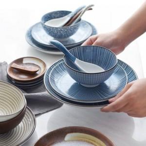 Japonesa Clásica Cerámica Vajilla Sopa de cocina Fideos Arroz Tazón 6 pulgadas 8 pulgadas Big Ramen Bowl Cuchara y taza de té Restaurante