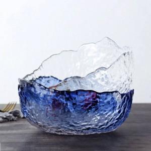 Gran recipiente de vidrio transparente japonés para ensaladas Ensalada en forma de postre Tazón de sopa a prueba de calor Tazón grande Vajilla