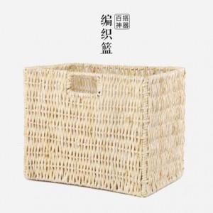 Cesta de almacenamiento de escritorio hecha punto hecha a mano rústica de estilo japonés miscelánea cesta de revista almacenamiento al aire libre cesta de almacenamiento