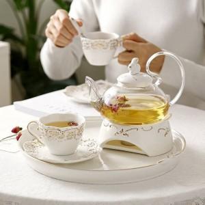 Tetera japonesa Tetera de cerámica Juego de té Bandeja de frutas Calefacción Cazuela de vidrio Elegante Taza de cerámica Plato Regalos