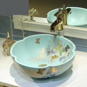 Baño de cerámica lavabo lavabo del arte lavabo mate verde claro oro mariposa patrón de baño lavabos flor