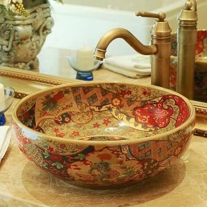 Lavabo de baño de hotel Balcón de arte Lavabo Lavabo de manos Lavabo de baño Lavabo antiguo Lavabo pintado a mano