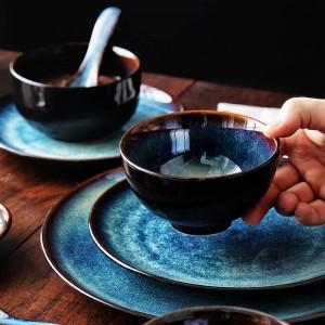 KINGLANG Juego de vajilla para 2/4/6 personas Juego de tazones japoneses Juego de vajilla de cerámica para el hogar Juego de platos de tazón de patrón de pavo real de color glaseado