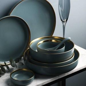 KINGLANG Juego de 2 o 4 o 6 personas Platos con borde dorado Juego de vajilla de cerámica NUEVO Juego de vajilla de cerámica dorada azul