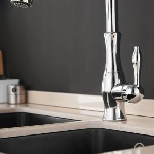 Grifos de cocina Cromado Una sola manija Extraíble Grifo de la cocina Manija de un orificio Giratorio 360 Grados Mezclador de agua Grifo Mezclador Grifo 866011