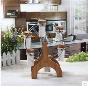 Suministros de cocina 6pcs / set Conjunto de caja de condimento de cerámica Rueda de ferris de bambú Rack giratorio Especias y pimenteros utensilios de cocina