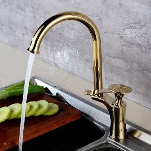 Ktichen Faucet Luxury Golden Brass High Arch Grifos del fregadero de la cocina Sola manija Caño giratorio Lavabo Mezclador Grifo de agua DL-8105