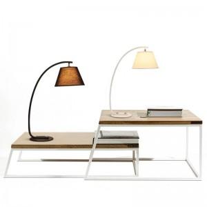 Lámpara de escritorio de estilo moderno Kung Simple, nórdica, luz de mesa creativa, negro, blanco, tela, tejido, pantalla, lámpara E27, 3W, blanco