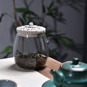 Vidrio sin plomo Latas de té Cubierta de madera de tela creativa Botella de almacenamiento de frutas secas multigrano latas selladas Tarro de té de flores regalo de tarro de té
