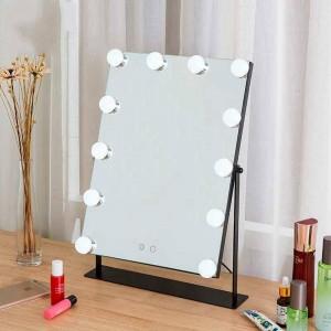 Espejo de maquillaje led para niñas, escritorio blanco, espejo de vanidad grande con luces, luz de relleno táctil, espejo cosmético para dormitorio mx01111356