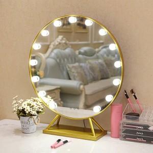 Espejo de maquillaje redondo LED con base de estilo nórdico hogar grande escritorio decorativo tocador de pie espejo con luces mx12291738