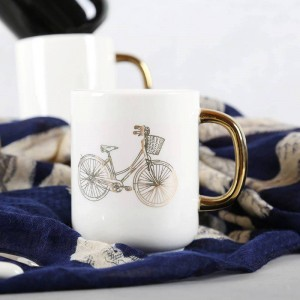 Lekoch 350 ml Sólido Blanco Negro Cerámica Taza de Café Bicicleta Graciosa Chapado en oro Tazas Viaje Taza de té Leche Oficina en casa Pareja Taza