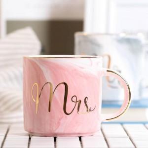 Lekoch 380ml Taza de cerámica de mármol Taza de café de viaje Tazas de té con leche Creativo Sr. y Sra. Tazas Incrustaciones de oro rosa Desayuno Decoración para el hogar