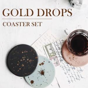 Lekoch 4Pcs Patrón de punto de cerámica dorada Resistencia al calor Mantel individual Alfombrillas de café Taza de café Posavasos de bebidas Cojín de copa