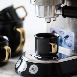Lekoch 500 ml Taza de café de cerámica negra con empuñadura dorada Taza de viaje Leche del té Taza de calor para el hogar Accesorios para utensilios de cocina