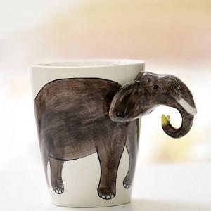 Lekoch animal taza de café de cerámica 3D pintado a mano blanco lindo perro ciervo taza 400 ml taza de leche de té para la fiesta de cumpleaños regalo de navidad