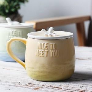 Taza de café de cerámica de dibujos animados creativos Lekoch tazas de callos 3D de 360 ml con tapa Empuñadura Animal de mar Color de gradiente divertido Taza de té con leche