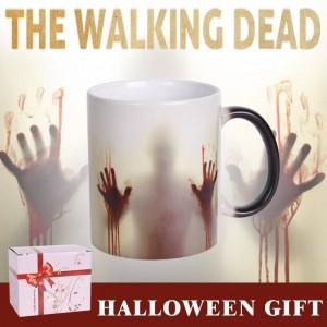 Taza de cerámica de Lekoch The Walking Dead Taza de café que cambia de color Manos sensibles al calor Manos sangrientas Diseño de tazas de té para regalo del día de Halloween