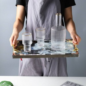 Light Luxury Copper Handle Bandeja de vidrio Bandeja de almacenamiento Decoración del hogar Placa Juego de té Chasis Nube Patrón