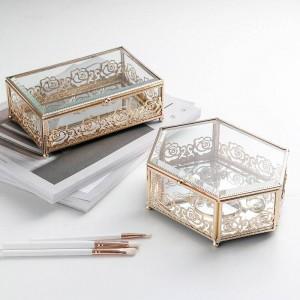 Luz de lujo de cristal chapado en oro caja de joyería de hierro forjado hogar creativo caja de almacenamiento de encaje dormitorio escritorio caja de acabado