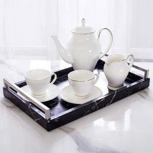 Luz Hogar de lujo Nordic Rectangular Mármol Bandeja de almacenamiento Bandeja de almacenamiento Bandeja de té Bandeja de té clásico Anti-hecho patrón de mármol