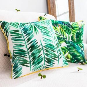 Marca de lujo Funda de Cojín Planta Tropical Hoja Flamingo Fundas de Almohadas Decorativas Almofadas Cojines Sofá Cubre Coche
