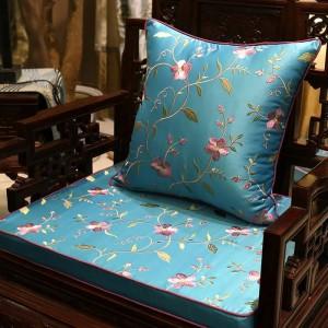 Funda de cojín de bordado de encanto de lujo Vides Blooming Design Capa de Dlmofada Sofá Ropa de cama para coche Planta decorativa Funda de almohada