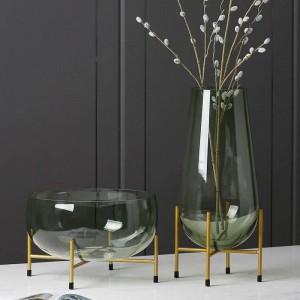 Florero de cristal de lujo Diseñador Frutero Moderno Minimalista Jarrón Transparente Decoración Del Hogar Decoración Creativa Regalo