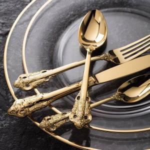 Juego de vajilla de oro de lujo Cubiertos de acero inoxidable chapado en oro Vajilla de boda Cuchillo de comedor Tenedor Cuchara de sopa