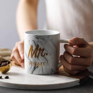 Mármol de lujo Palabra bronceadora Tazas de cerámica Chapado en oro MRS MR Regalo del amante de la pareja Taza de la mañana Leche Café Desayuno Taza creativa