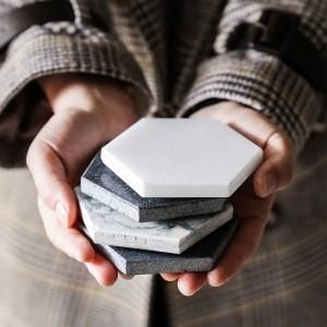 Posavasos de mármol de lujo Cerámica para el hogar Alfombrillas hexagonales Alfombrillas para tazón Taza Vino Bebida Taza de café Decoración de mesa Alfombra antideslizante