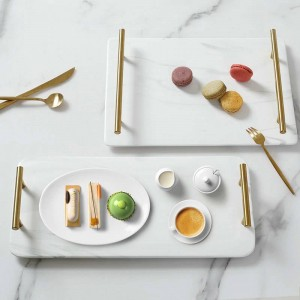 Bandeja de cerámica rectangular veteada de lujo Bandeja de té para el hogar Bandeja de lavado Mango clásico de oro y mármol